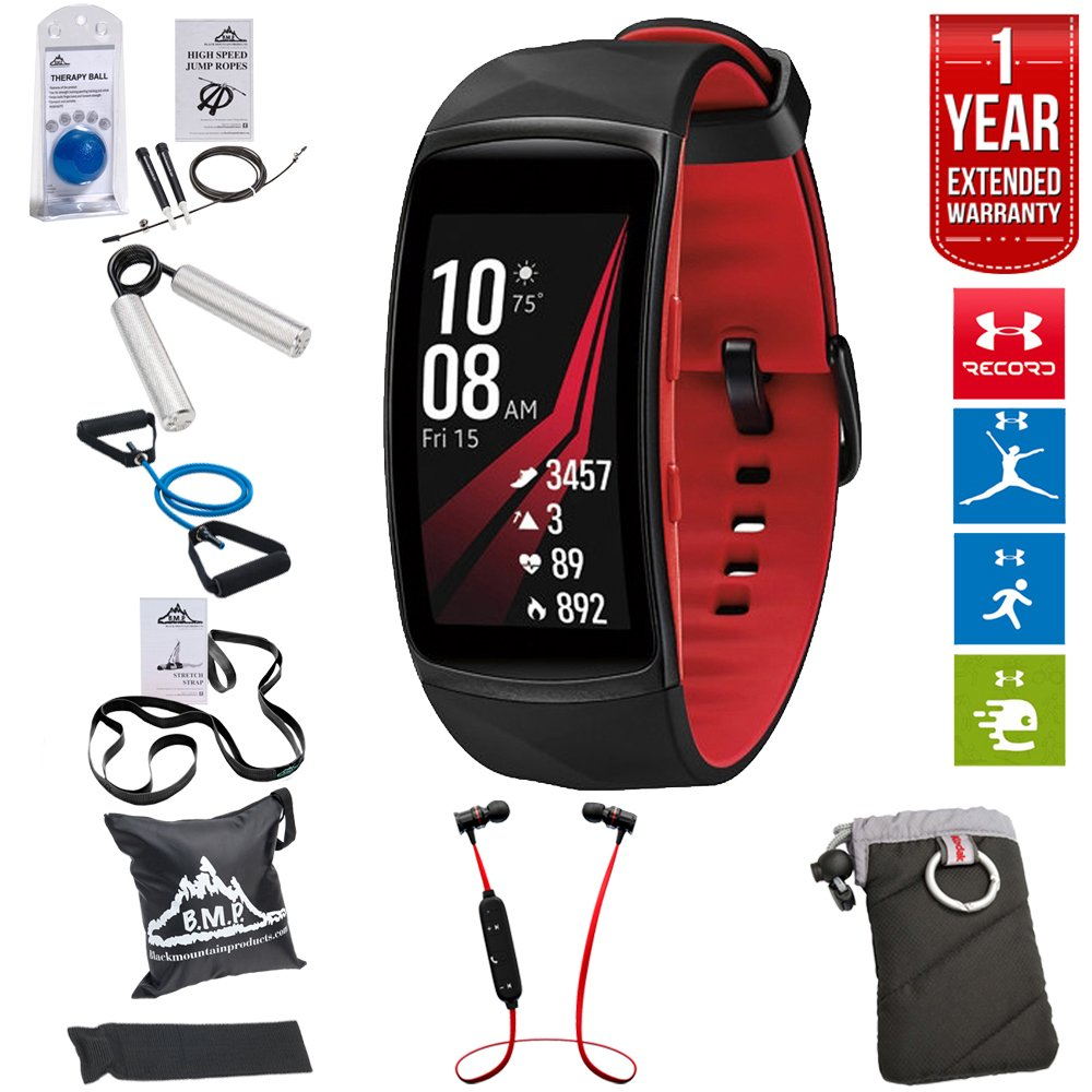 Samsung Gear Fit2 Pro Fitness Smartwatch - Red, Small (SM-R365NZRNXAR) + Fusion Bluetooth Headphones + Gear Black Jacket Case + 7-in-1 Total Resistance Fitness Kit + 1 Year Extended Warranty