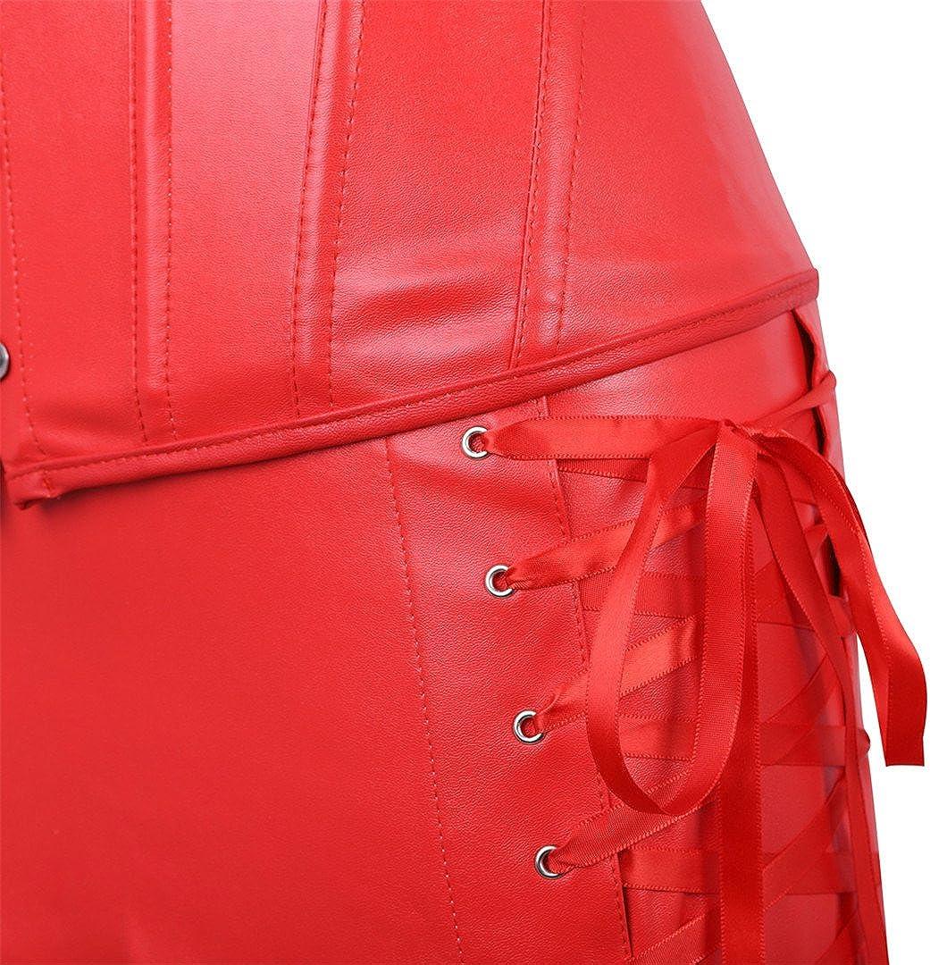 Kranchungel Womens Punk Rock Faux Leather Corset Retro Goth Waist Cincher Basque Bustier