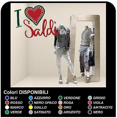 "dd71cfe035fb3d Adesivi saldi vetrine -""I love saldi"" - Misure 60x45 cm -  Vetrofanie"