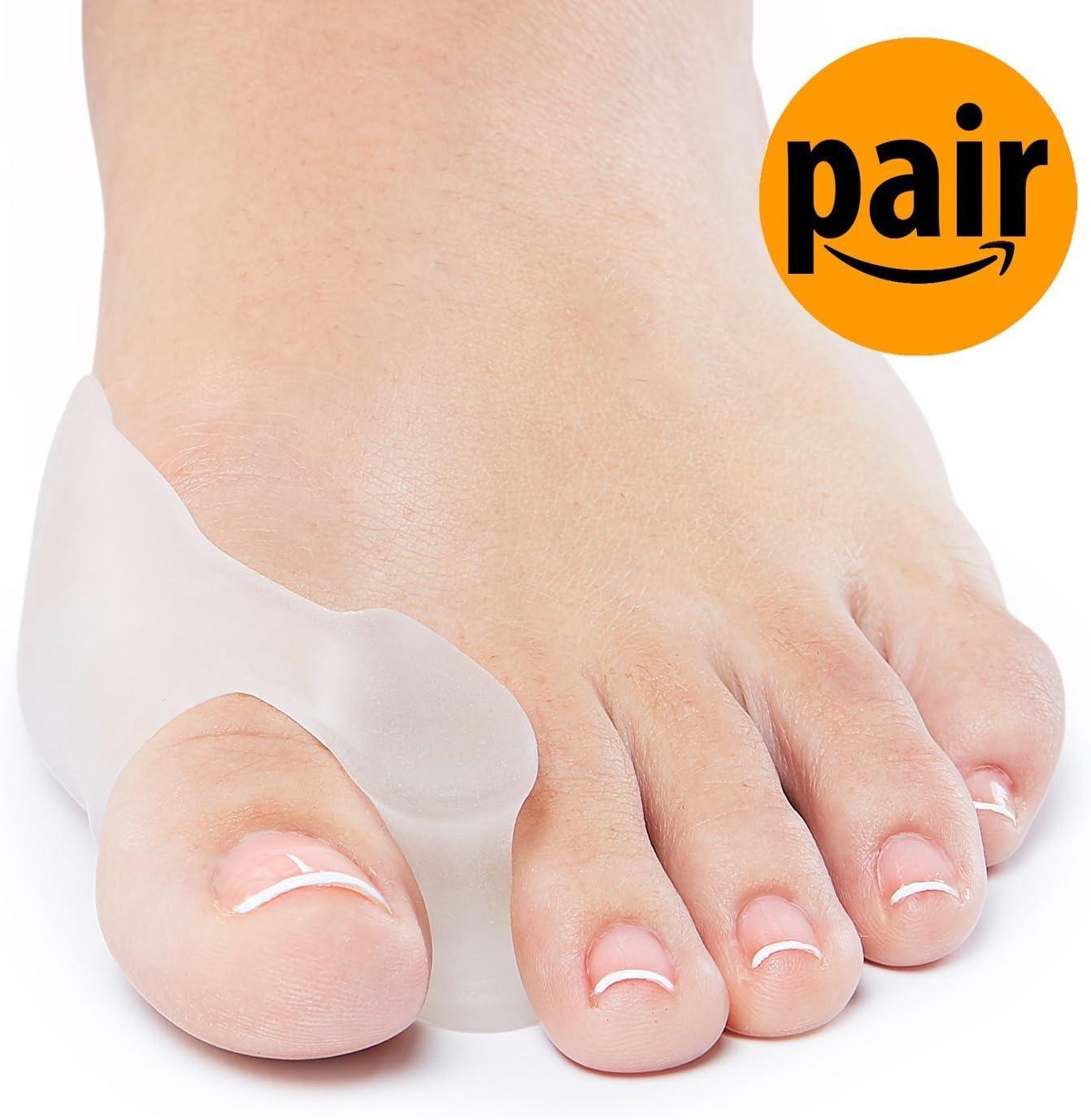Alsyiqi - Kit de protectores de dedos de gel para dedos de los pies, corrector de dedos de los pies grandes, separador de pies, tratamiento del dolor en los válvulas Hallux, articulación