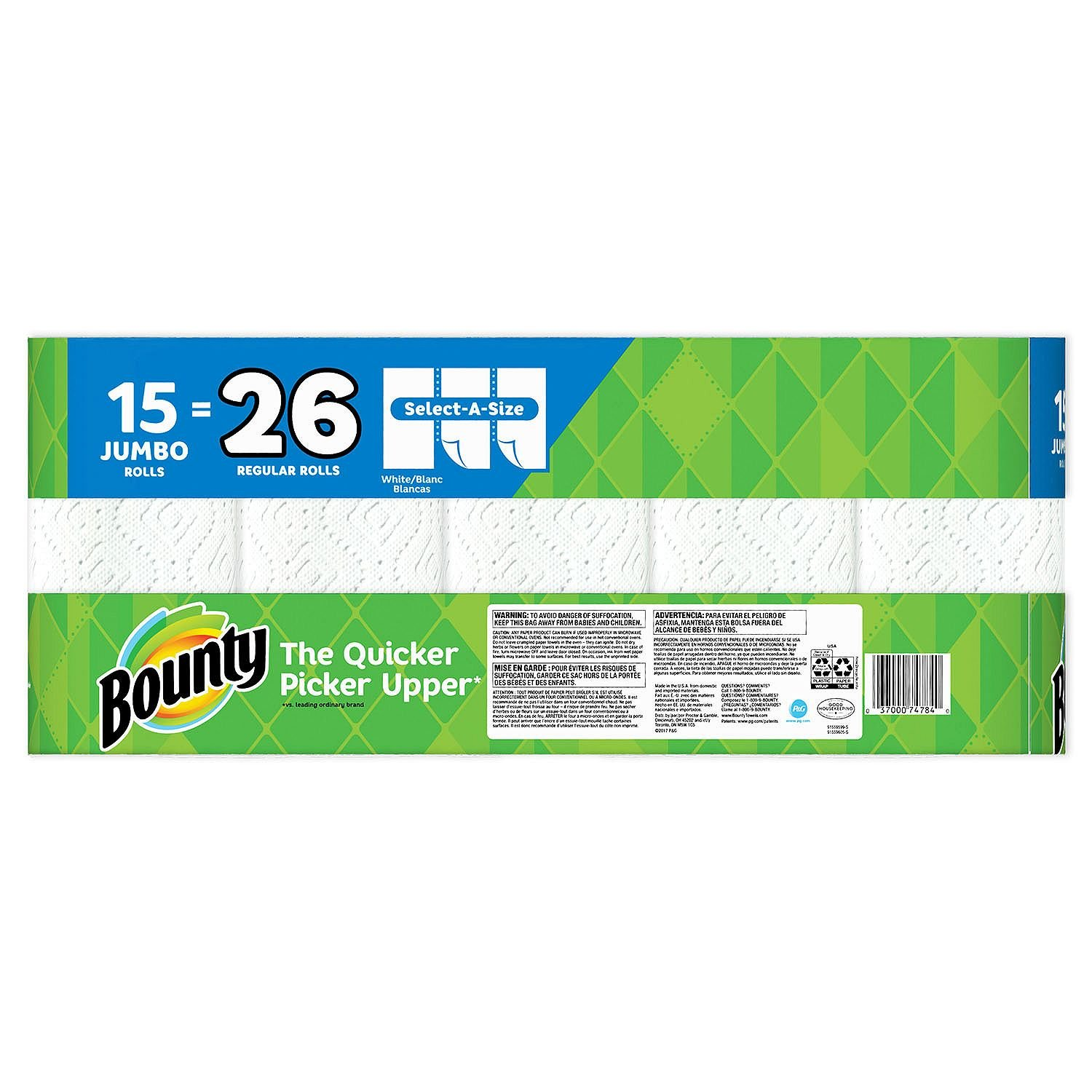 Bounty Select-a-Size Paper Towels, White, 15 Jumbo Rolls: Amazon.com: Industrial & Scientific