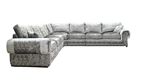pretty nice 94e91 5443b New High Quality Lara Large 7 Seater Crushed Velvet Corner ...