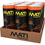 MATI Low Calorie Natural Healthy Energy Drink 12 Ounce (Citrus, 12 Pack)