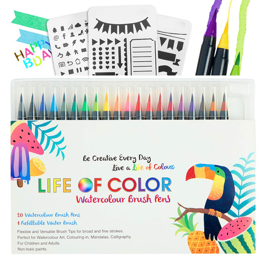 Watercolor Pens–20 Vibrant Colors with Real Brush Tips. Free Water Blending Brush. Durable Markers for Lettering, Bullet Journal, Drawing, Painting, Coloring - Compact Storage Case - Free Stencil Pack Life of Color