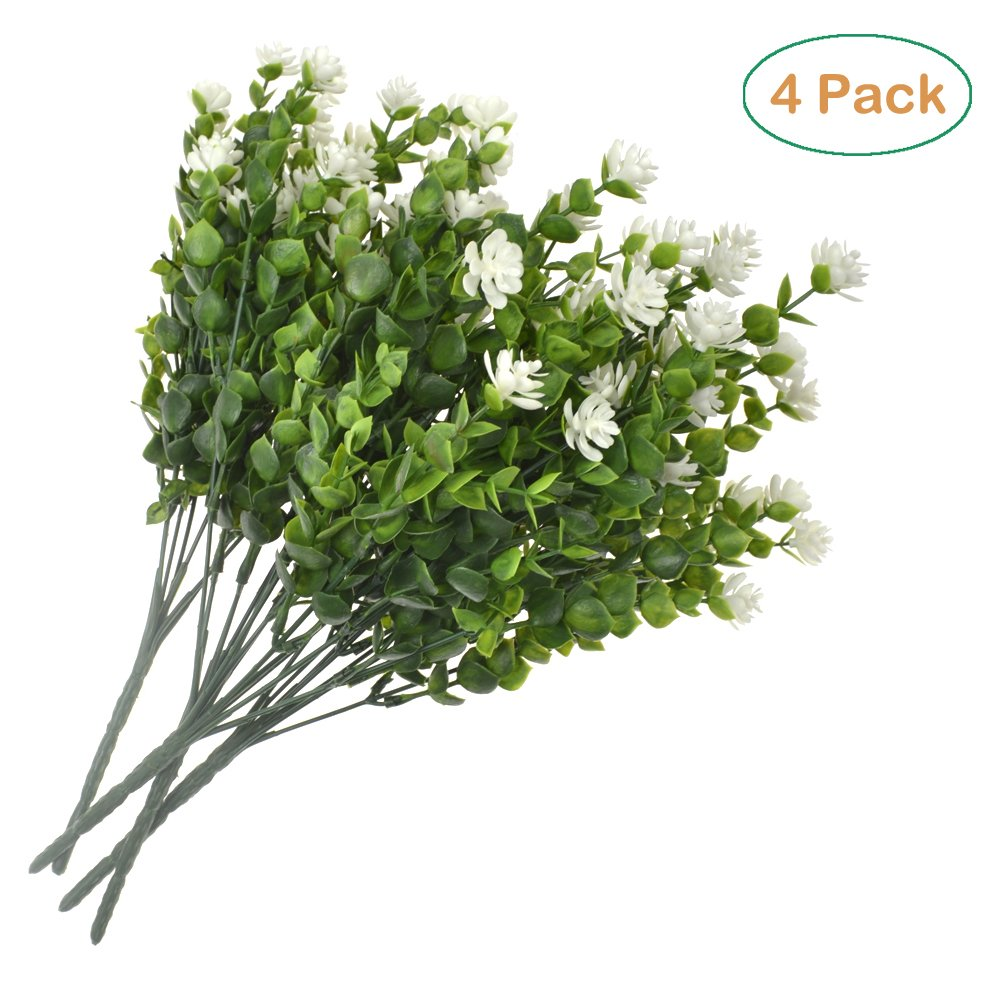 Amazon Sunshinetrees 4 Pcs Artificial Shrubs White Eucalyptus