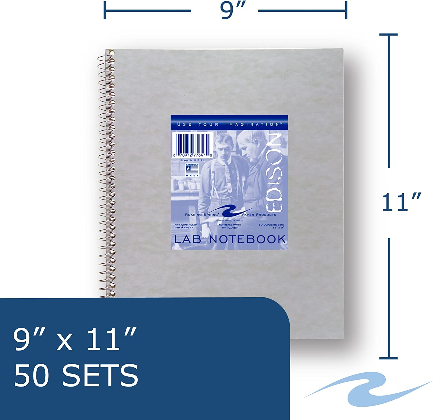 Roaring Spring Lab Notebook 50 sets w//Carbon 11 x 9