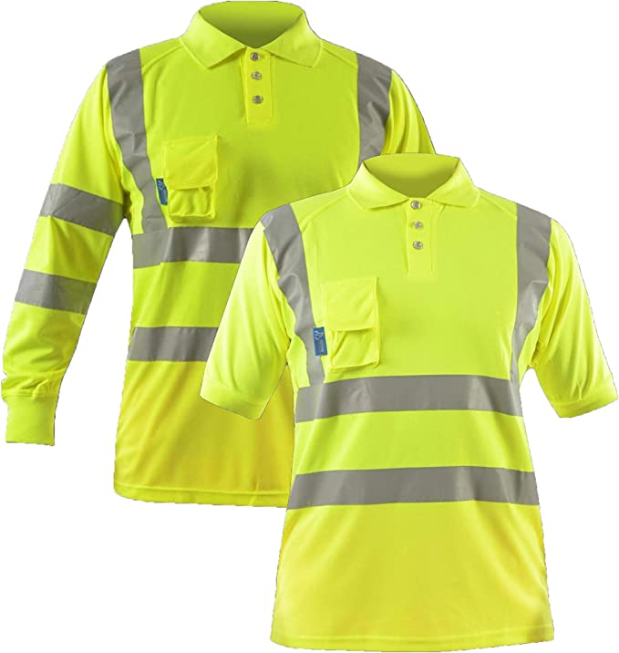 Hi Vis Viz Polo T Shirt High Visibility Safety Security Breathable Work Top Button T-Shirt Lightweight Double Tape - Long Sleeve w/Vent Mesh & Smartphone Pocket - Yellow (Polo Shirts para Hombre):