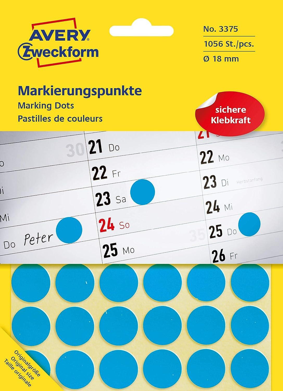 Avery Zweckform Markierungspunkte Punkte Etiketten rot 18mm 96 Stück Markierung