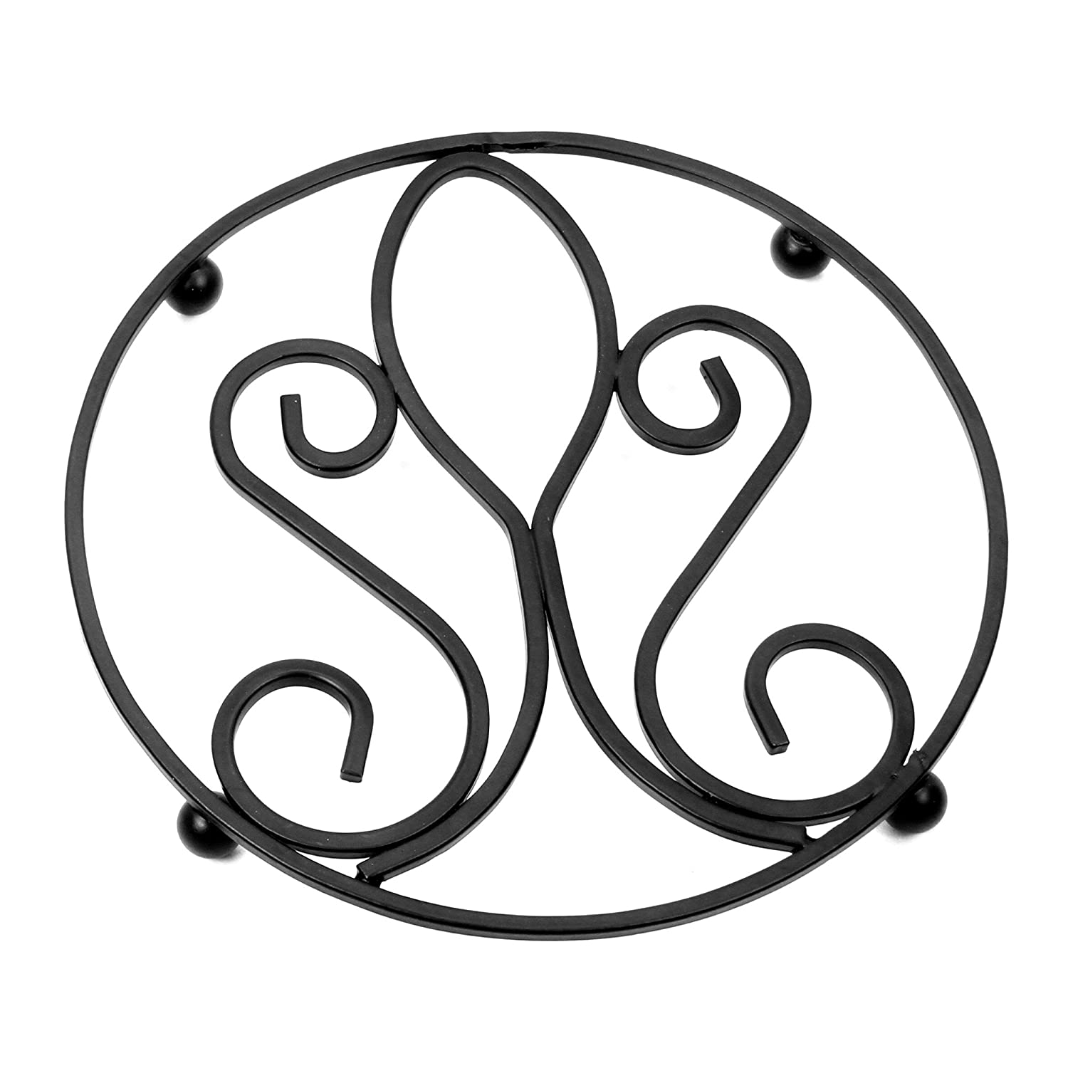 Hosley's Wrought Iron Trivet- Assorted Pattern. 7.2 Diameter. Raised base protects your counters, tables from watermarks and scratches. Ideal gift for house warming, weddings O4. HG Global