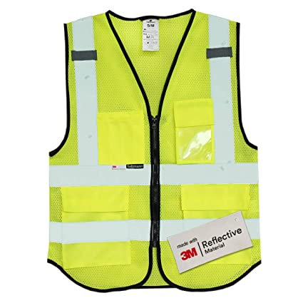 Smart Reflective Safety Vest Pockets Breathable Yellow Orange Mesh Vest Work Wear Security & Protection