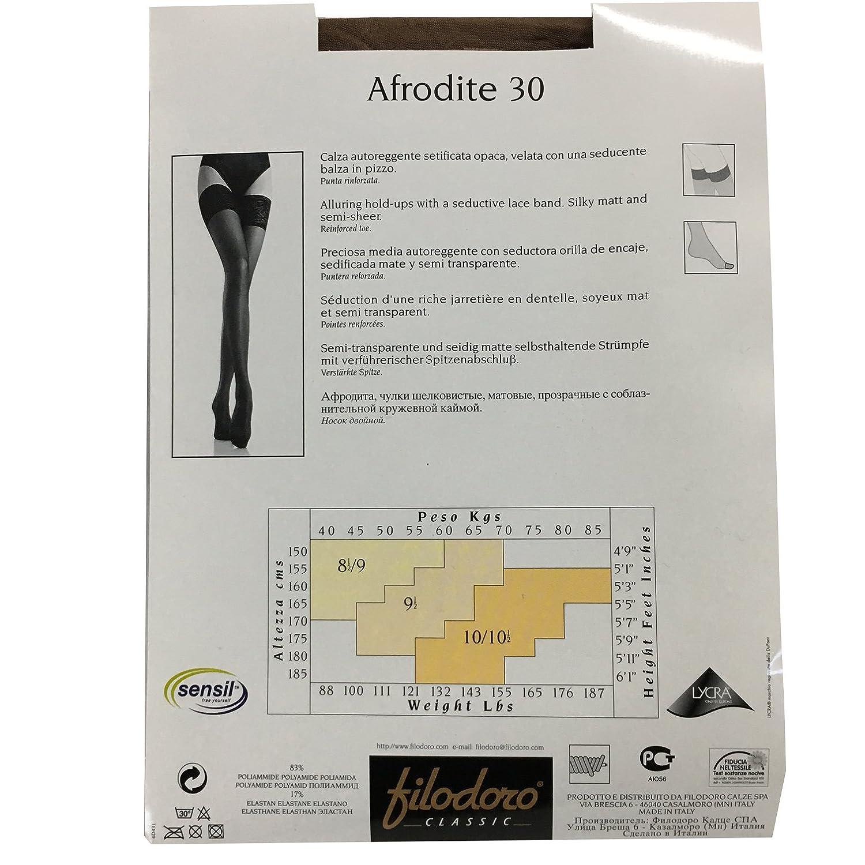 FILODORO calza autoreggente donna mod AFRODITE 30 den con balza 10 cm con silicone glac/è
