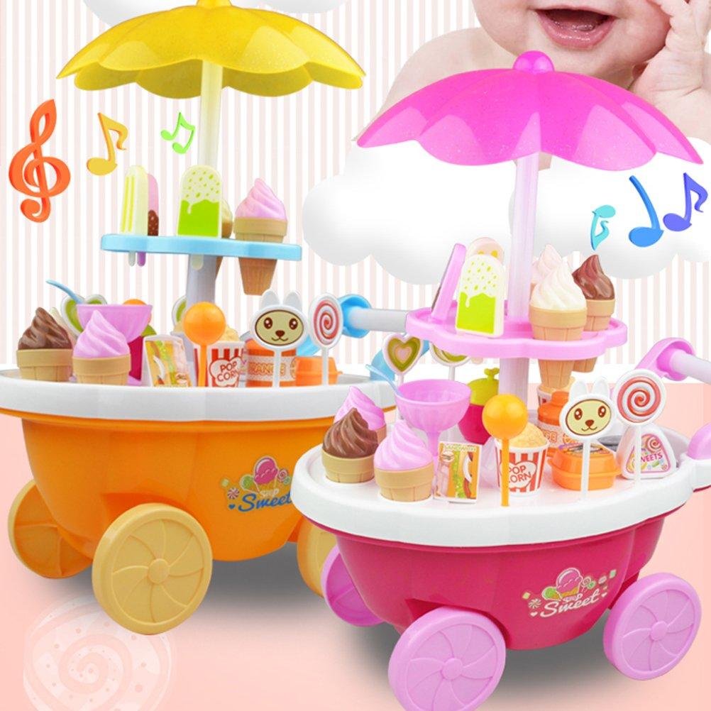 Toyvian Niños Juego de imaginación Toy Simulation Candy Ice Cream Car Trolley Toy Supermarket (Amarillo): Amazon.es: Juguetes y juegos
