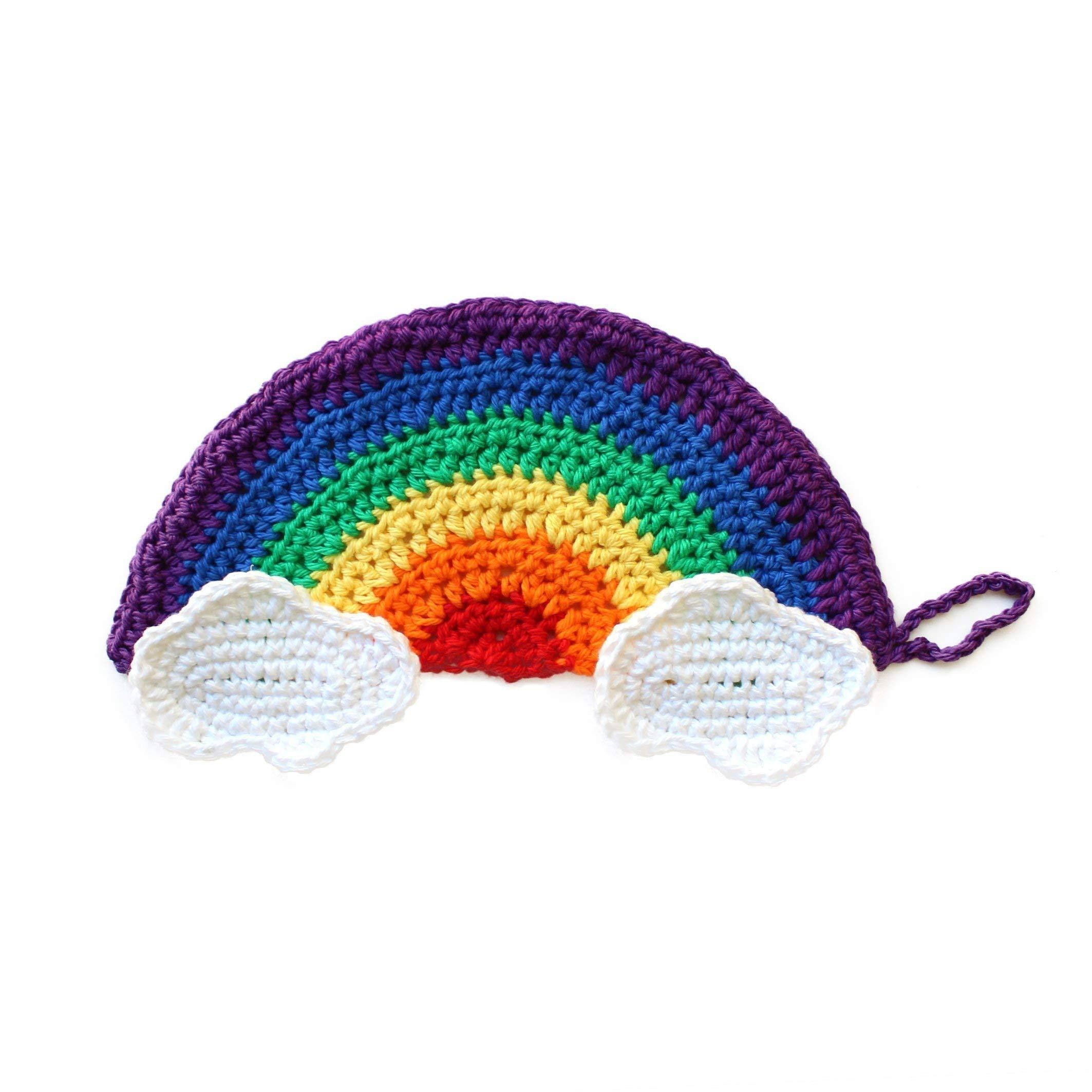Handmade crochet rainbow & clouds washcloth by Geekirumi! - Cotton scrubbies for kitchen or spa (set of 3)
