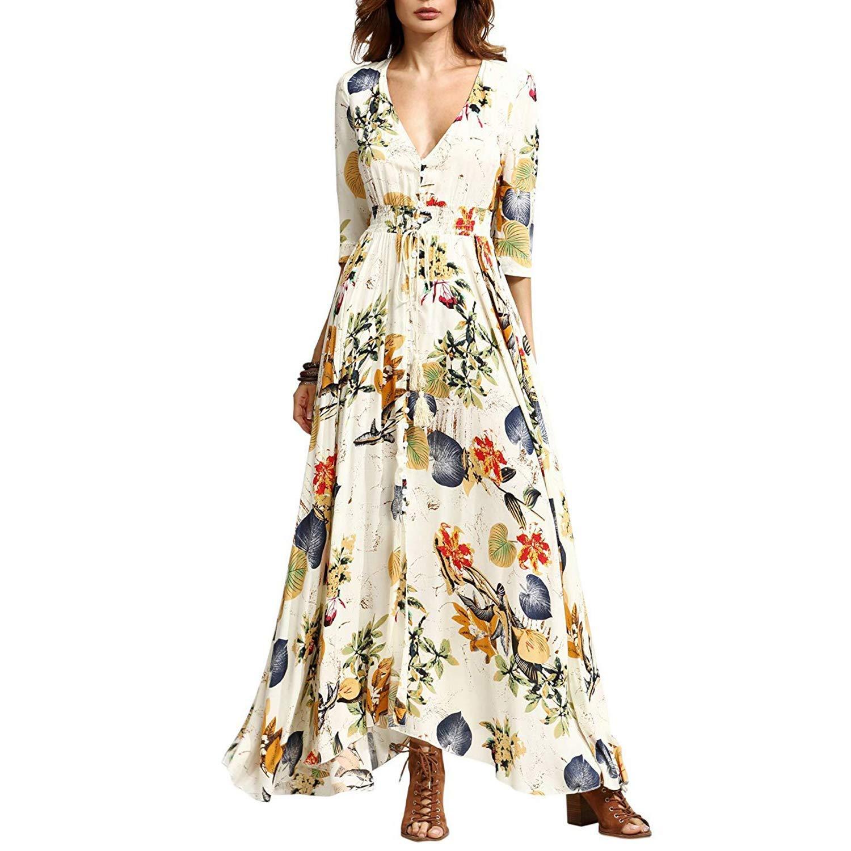 TALLA L. KUONUO vestidos de mujer Mujer Verano Cuello en V Boho Largo Maxi Vestido Fiesta Nocturna playa Vestir Floral Vestidos de sol