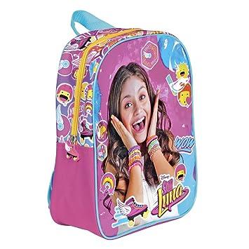 Mochila para niña de Disney Soy Luna - Bolso Escolar Fucsia y Azul - Bolsa para