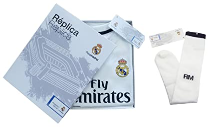 Personalizador Conjunto Complet Infantil Real Madrid Réplica Oficial Licenciado de la Primera Equipación Temporada 2018-19 Sin Dorsal