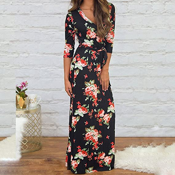 bccc58db99bad Beach Dresses for Women Long Maxi V Collar Print Dress Long Skirt with Seaside  Holiday Dresses at Amazon Women's Clothing store: