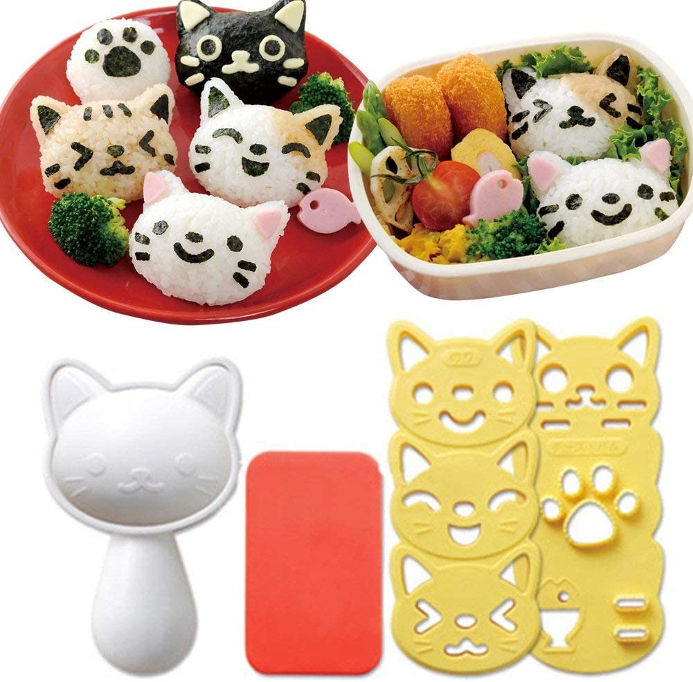 Hofumix Bento Accessories Sushi Mold Rice Ball Mold Cartoon Cat Pattern Sushi Bento Nori Kitchen Rice Decor Kits Sandwich DIY Kitchen Tools for Baby Kids Meal