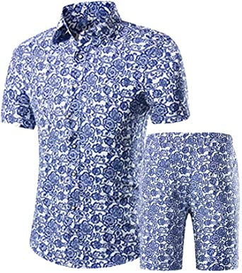 Litteking Mens 2 Piece Tracksuits Floral Hawaiian Sweat Suit Casual Short Sleeve Shirt and Shorts Suit Set Sports Outfit