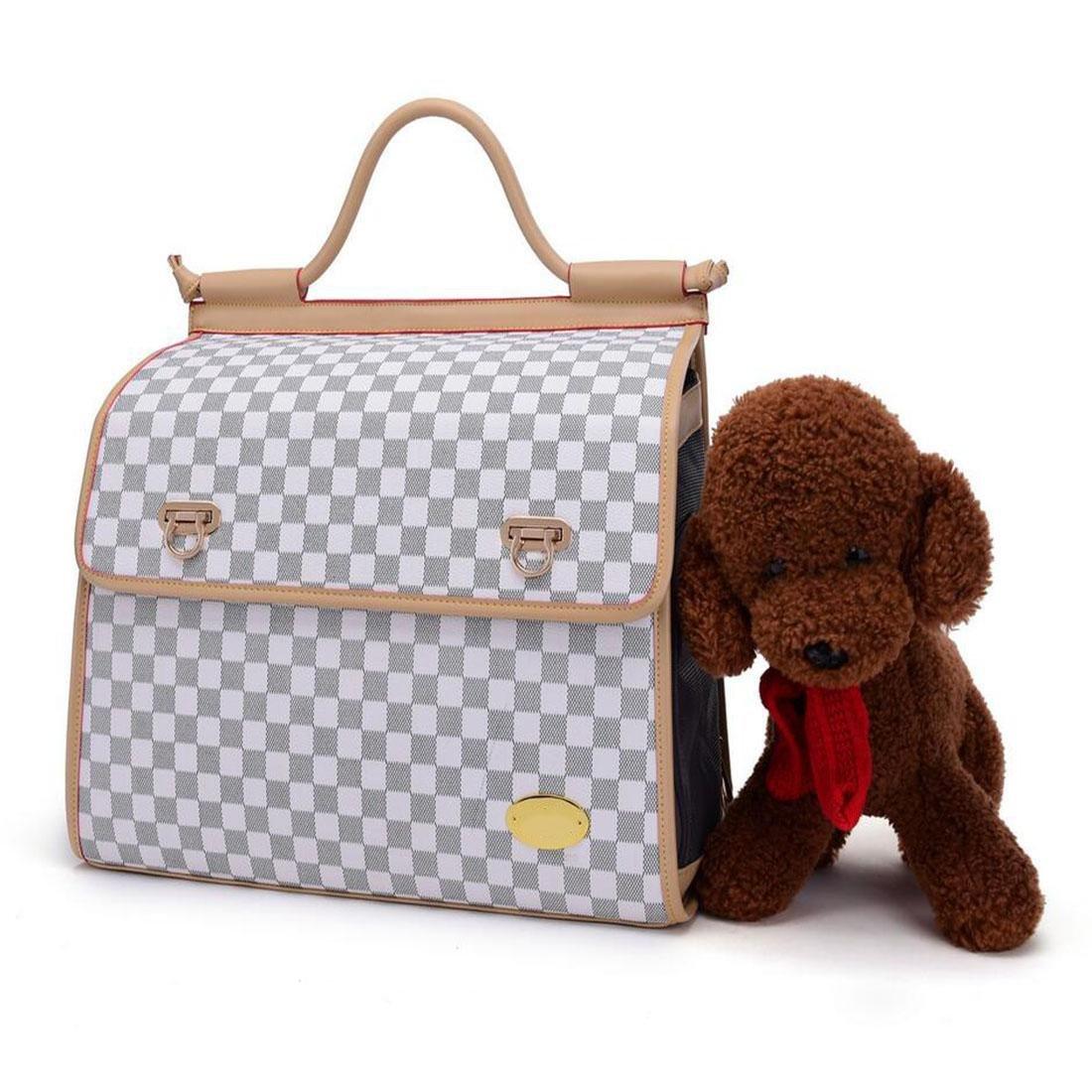 WYXIN PU Dog Cat Backpack Carrier con Mesh traspirante Piccola mano Pet Spalle Borsa per Viaggi Escursionismo Camping40  28  20CM , Bianca