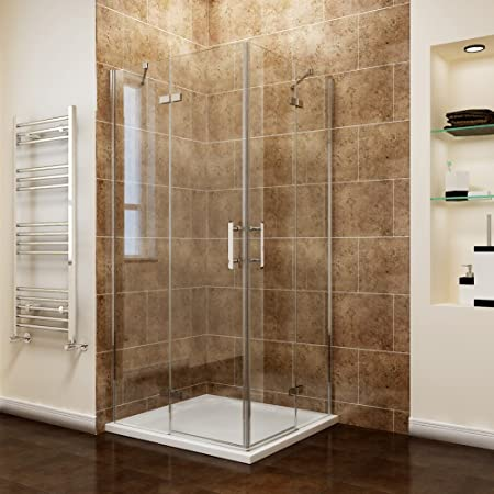 ELEGANT 800 x 800 mm Corner Entry Shower Enclosure Pivot Door Shower Cubicle with Shower Tray