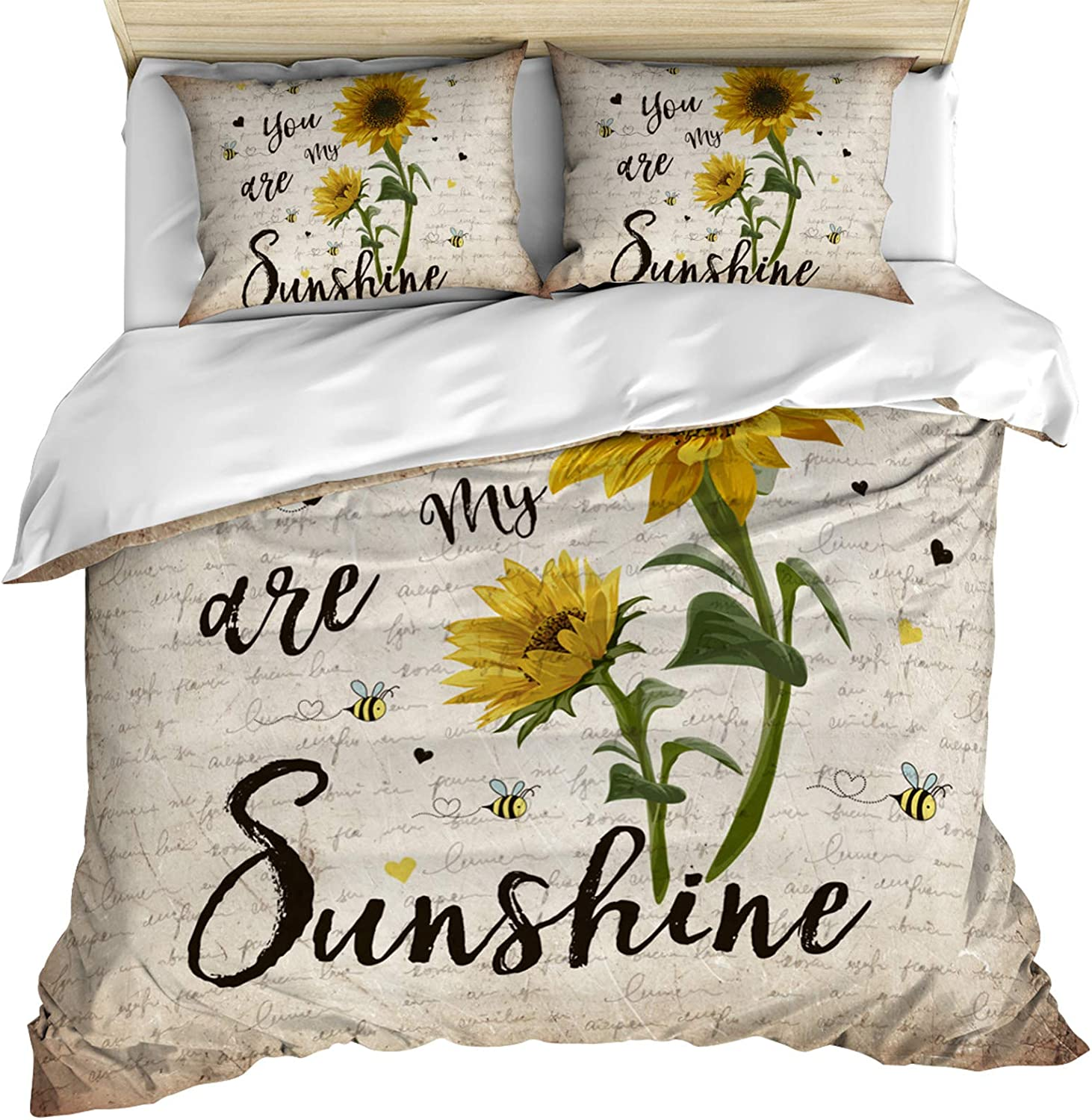 3 Piece Bedding Set Comforter Quilt Cover Set King Size You Are My Sunshine Sunflower Vintage Newspaper Duvet Cover Set With 2 Pillow Shams For Kids Teens Adults Toddler Home Kitchen