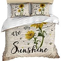 3 Piece Bedding Set Comforter/Quilt Cover Set Full Size, You are My Sunshine Sunflower Vintage Newspaper Duvet Cover Set…
