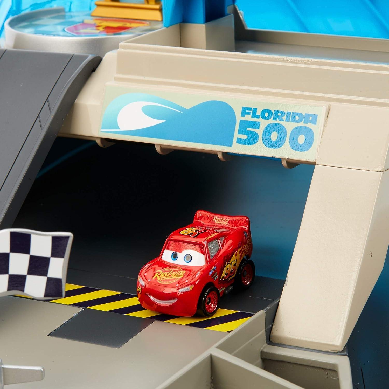 FPR05 jouet pour enfant mini-v/éhicule Flash McQueen inclus Disney Pixar Cars Coffret Circuit Flipper transportable pour mini voitures