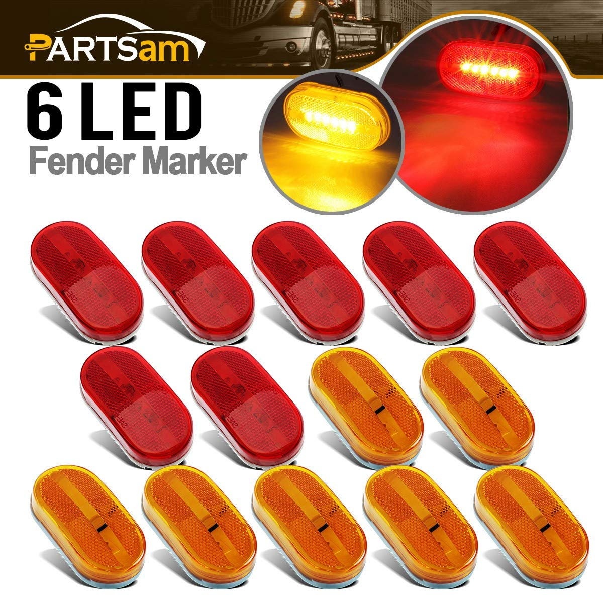 Partsam 14x Rectangle Reflectorized Side Marker Lights 4 x 2 RV Camper Red/Amber 6 Diodes, Led Trailer Clearance Lights w/Reflex Reflector, Rectangular trailer lights, White Base, Surface mount