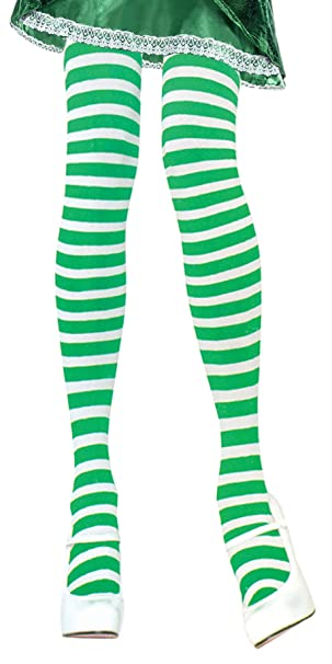 2e76622e1e0ae Image Unavailable. Image not available for. Color: Green and White Striped  Tights ...