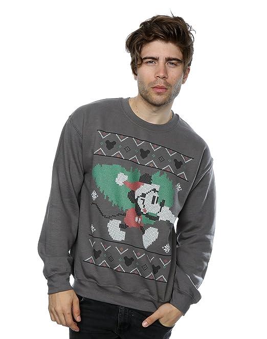 Disney Hombre Mickey Mouse Christmas Tree Camisa de Entrenamiento: Amazon.es: Ropa y accesorios