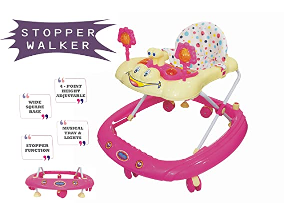 eHomeKart Baby Walker with Stopper and Music - Pioneer Activity Walkers for Kids with Music, Light and Adjustable Height - for Boys and Girls - Suitable Age 9 Months + (Pink)