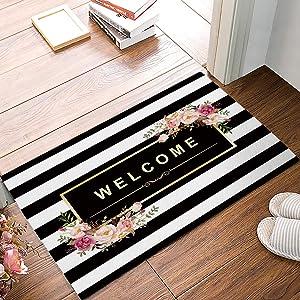 SIMIGREE Black and White Stripe Floral Welcome Door Mats Kitchen Floor Bath Entryway Rug Mat Absorbent Indoor Bathroom Decor Doormats Rubber Non Slip 18 x 30 Inch