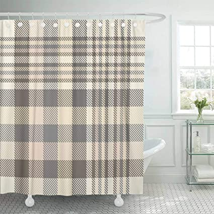 Emvency Fabric Shower Curtain With Hooks Gray Border Tartan Plaid Pattern In Shades Of Cream Beige