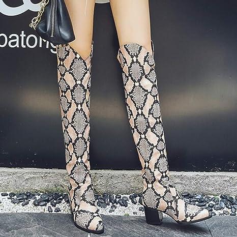 LILICAT❋ Moda Botas con Estampado de Serpientes Botas de Gamuza para Mujer, Zapatos de tacón Alto con Estampado de Serpiente para Mujeres Botas de ...