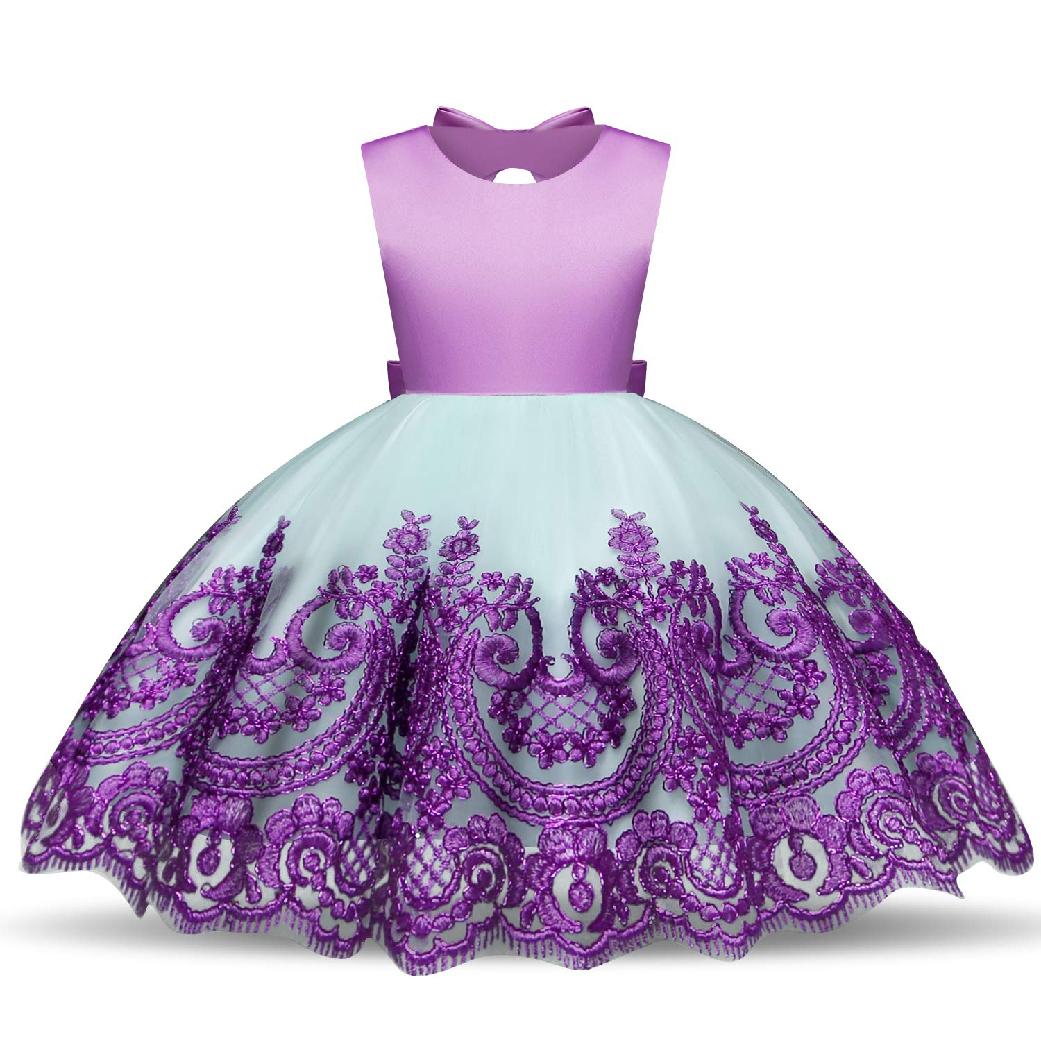 NNJXD Kids Back Bow Embroidered Tulle Flower Girls Wedding Birthday Princess Formal Dress Size (120) 4-5 Years