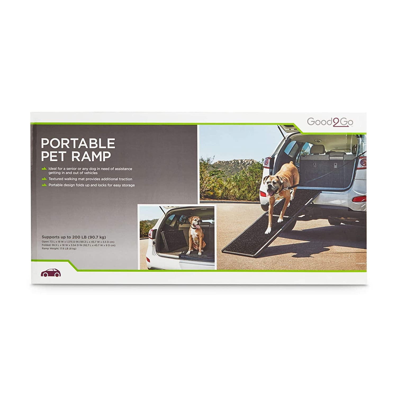 GOOD2GO Black Portable Pet Ramp for Pets Up to 200 lbs.