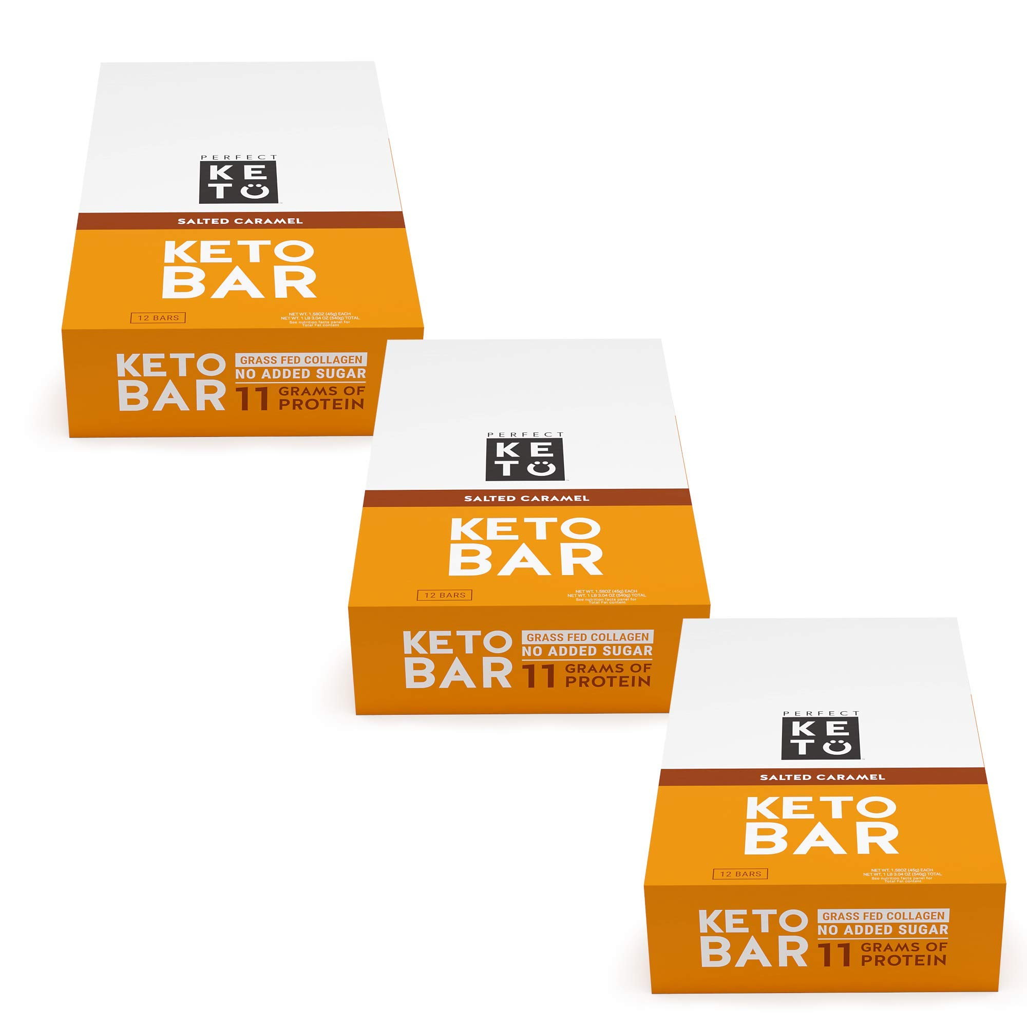 New! Perfect Keto Bar, Keto Snack (12 Count), No Added Sugar. 10g of Protein, Coconut Oil, and Collagen, with a Touch of Sea Salt and Stevia. (3 Boxes, Salted Caramel)