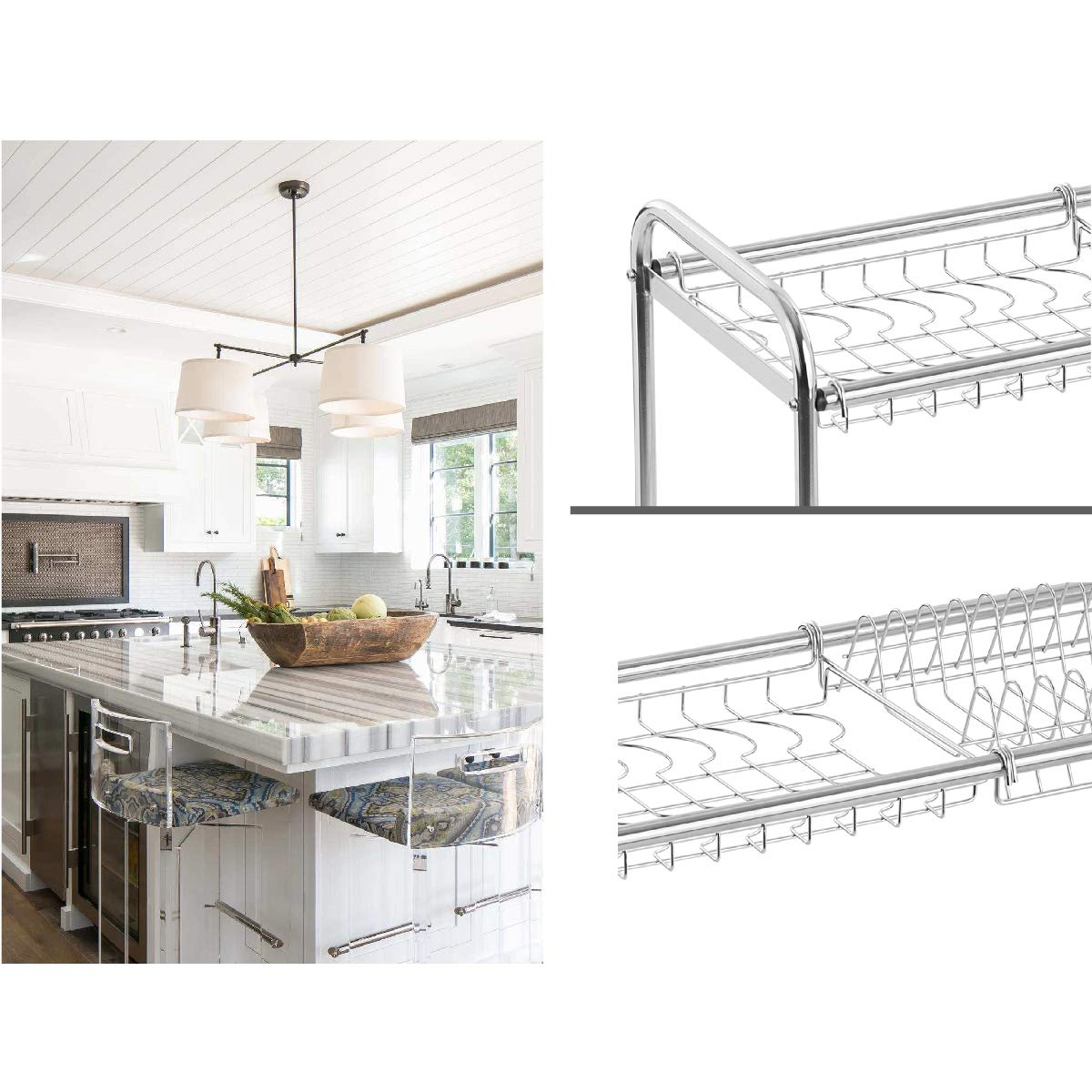 Dish Drainer B SMIO 2-Tier Stainless Steel Dish Rack Dish Drainer with Chopstick Holder
