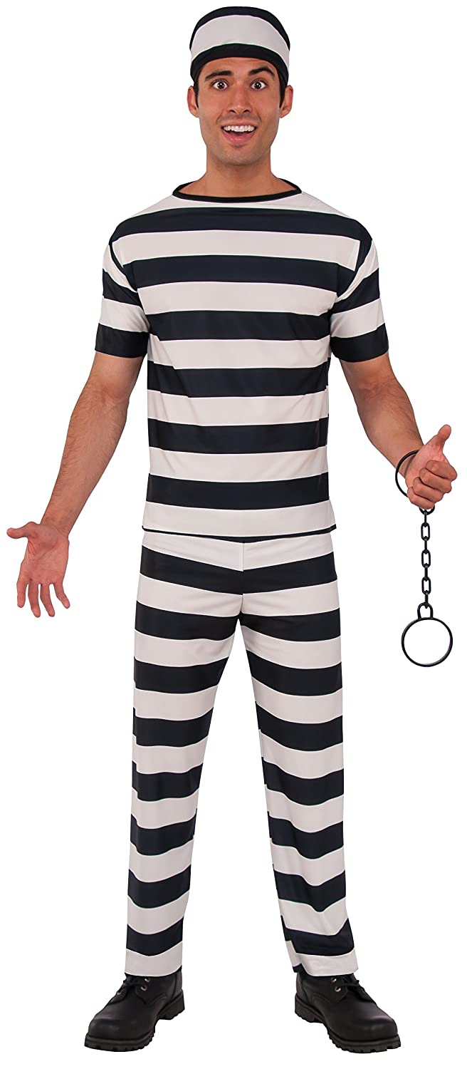 Rubies Haunted House Collection Prisoner Man Costume, Black/White, One Size