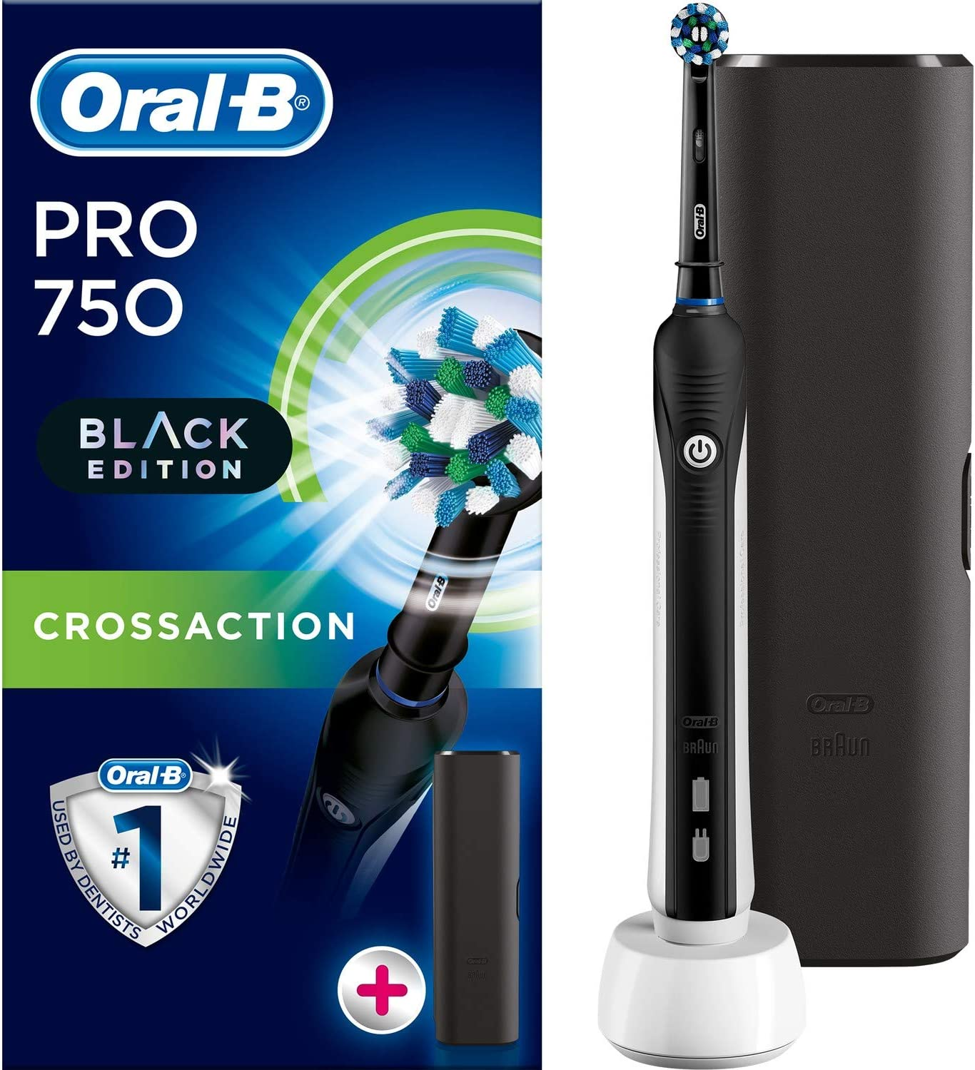 Braun Oral B Pro 750 All Black Edition 3d With Travel Case Amazon Co Uk Health Personal Care