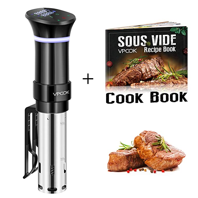 VPCOK Sous Vide Cooker Accurate Immersion Cooker Control Temperature and Timer, 1000 Watts, 100-120V, Sous Vide Cookbook Included best sous vide cooker