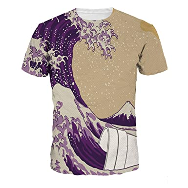 Men Women 3D T-Shirt Short Sleeve Tees Print Colorful Sea Waves Quick Dry d87765a4c0bc