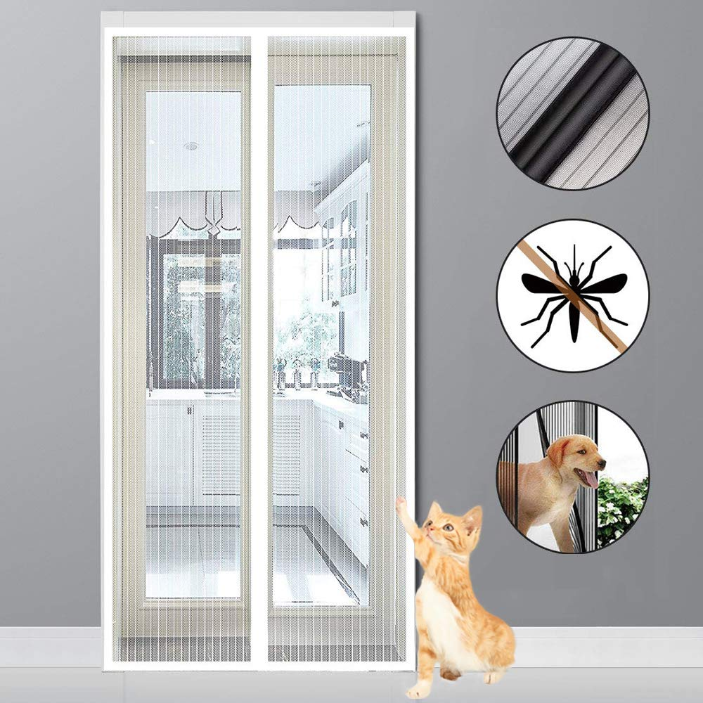 for Le Salon//Porte Patio Adsorption magn/étique Pliable Acc/ès Facile Rideau/magn/étique/pour/Portes MODKOY Moustiquaire Magn/étique 70x180cm Blanc