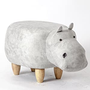 Visual taste ?Dreamer Creative Footstool Ottoman upholstered Ride-on Stool Changing Shoes Solid Wood Hippo Modeling Decorative Furniture-A 65x35x37cm(26x14x15inch)