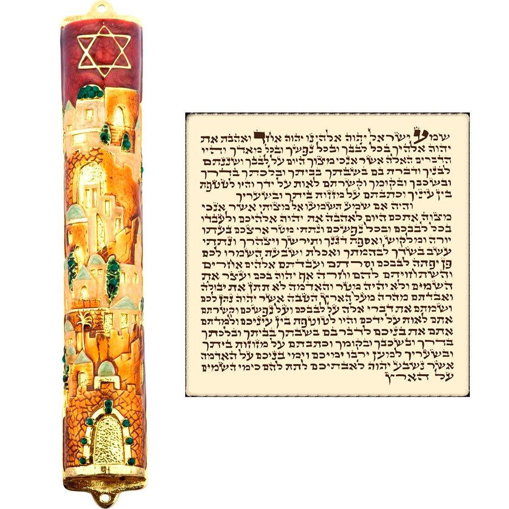 Jerusalem MEZUZAH CASE with Scroll Hebrew Parchment Gold Enamel Star Of David Judaica Door Mezuza Made In Israel 9 cm