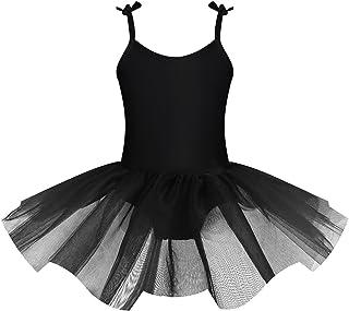 iEFiEL Bambina Vestito da Balletto Danza Classica Ragazza Leotard Body Dancewear Ginnastica Tutu Elegante Senza Manica Aderente Ballo Tracolla Regolabile 2-12 Anni