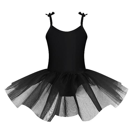 iiniim Girls Spaghetti Shoulder Straps Ballet Dance Gymnastics Leotard Mesh Tied Skirt Outfit Set