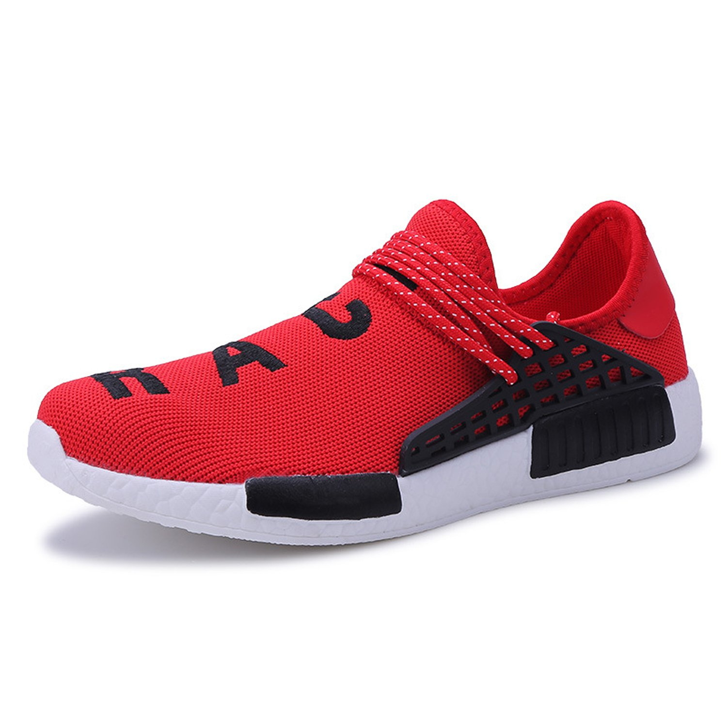 AI Aleng Mens Womens Unisex Lightweight Fashion Sneakers Breathable Lace-up Athletic Sports Shoes Human Race Casual Running Shoes B074RGVF16 Women 12 D(M) US /Men 11 D(M) US|Red