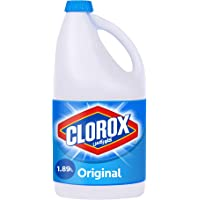 Clorox Original Liquid Bleach, Household Cleaner and Disinfectant, Kills 99.9% Germs and Viruses, 1.89L